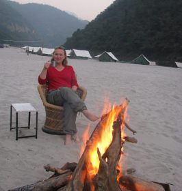 Beach camp fire in Rishikesh with post rafting chai.